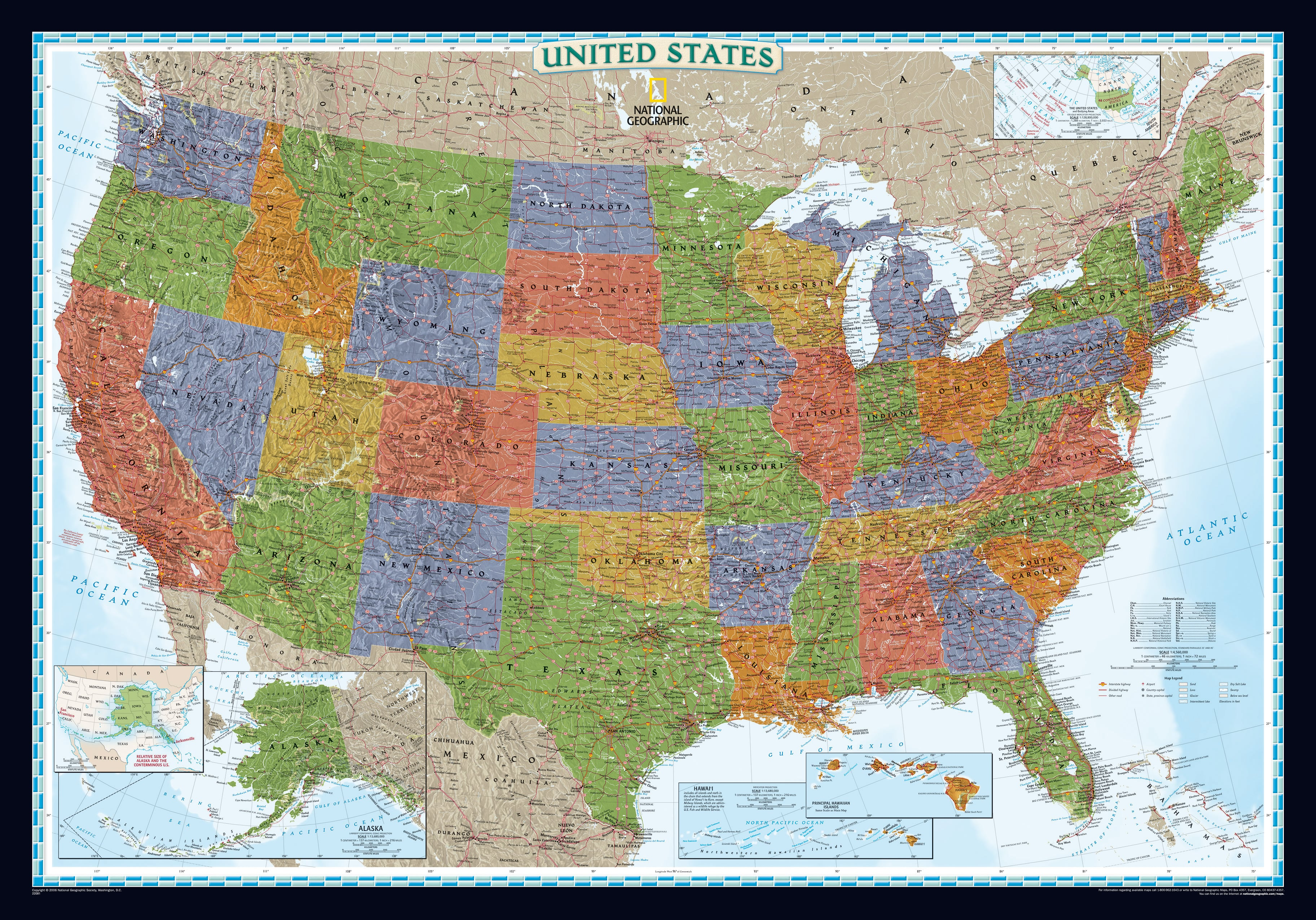 Large Laminated Us Map.Decorator Us Map Large Size Countries Regions Maps Wall Maps