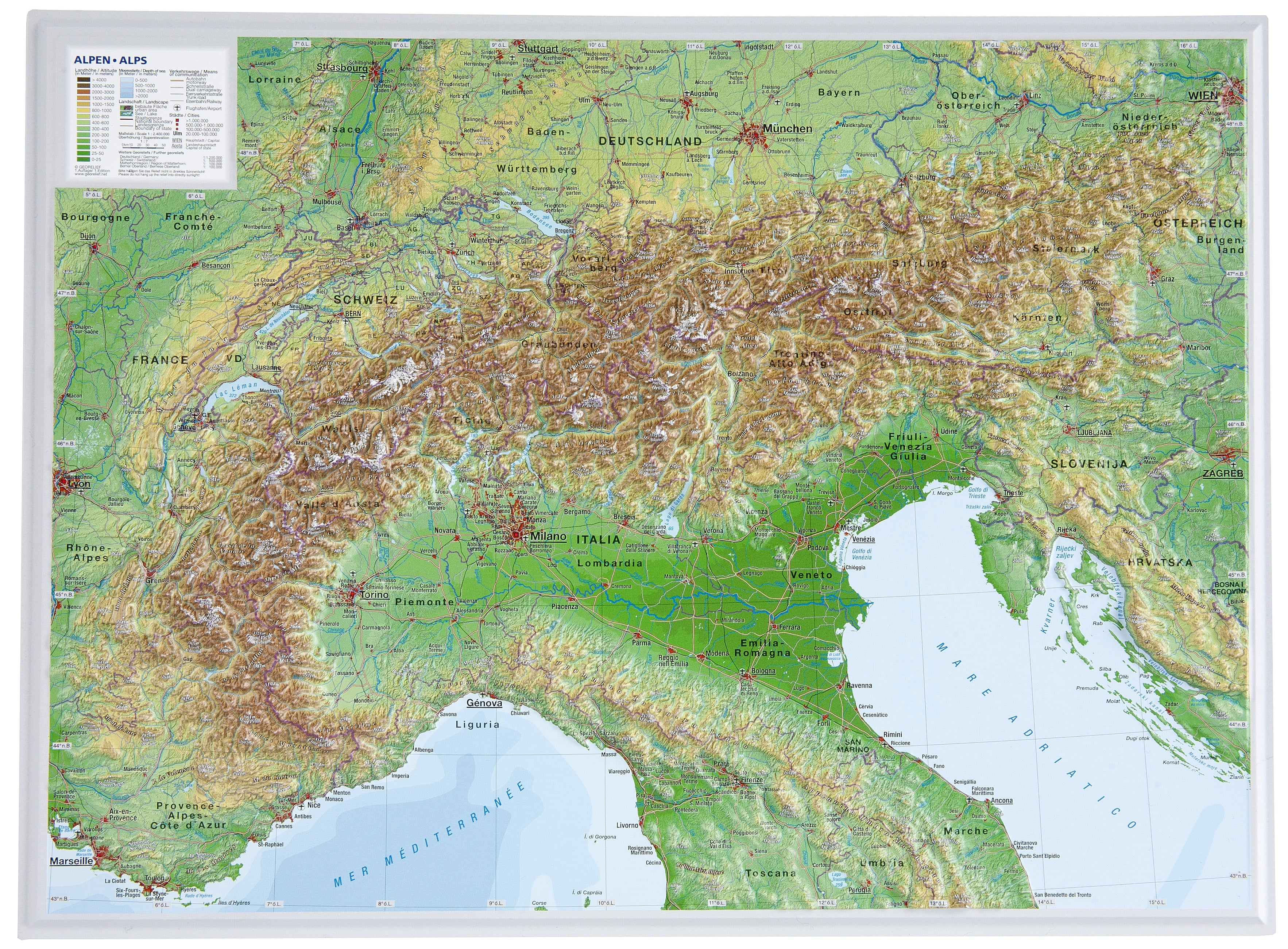3D Relief Map Alps small - Wall Maps
