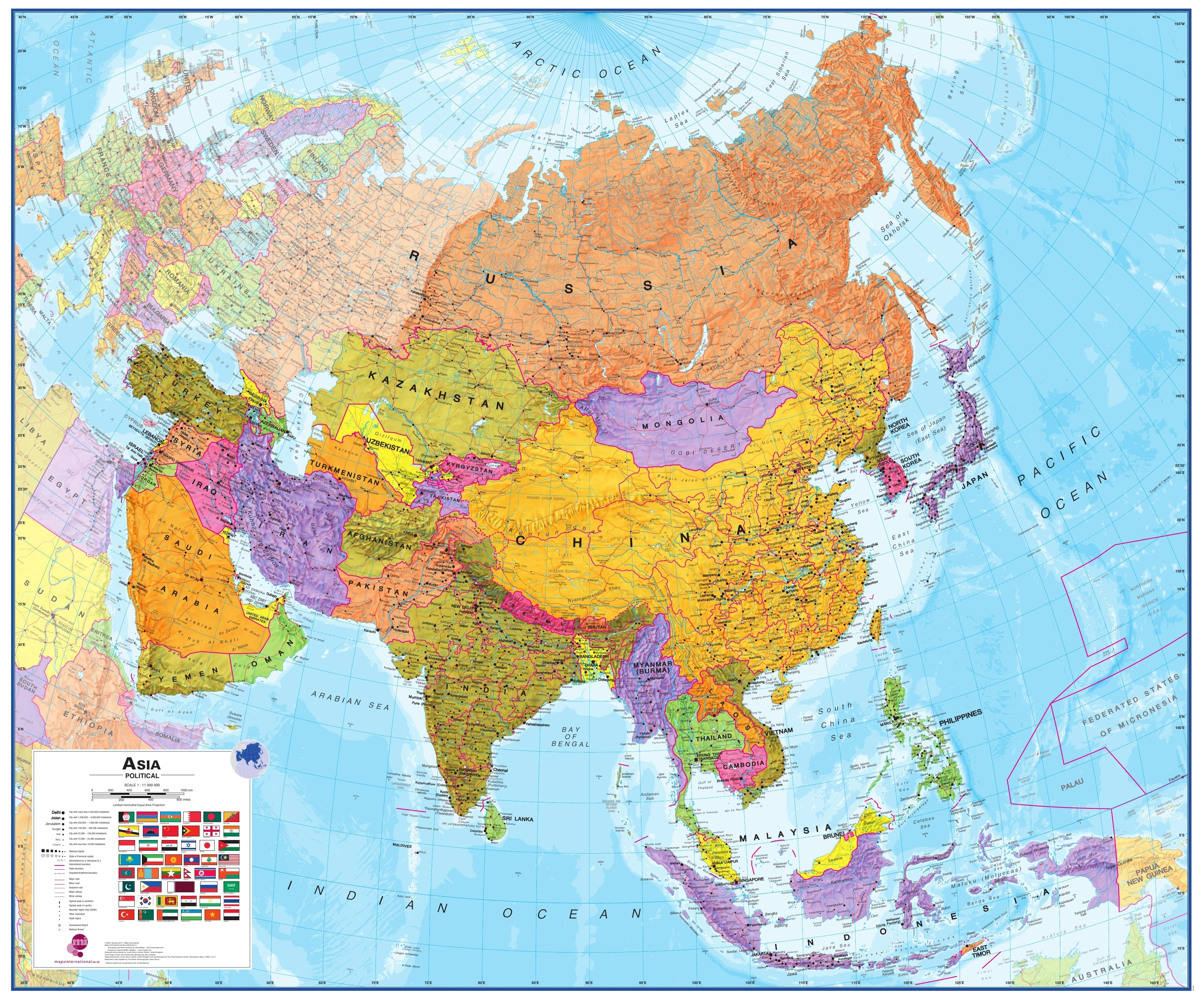 Political Asia Wall Map 120 X 100cm Continentmaps