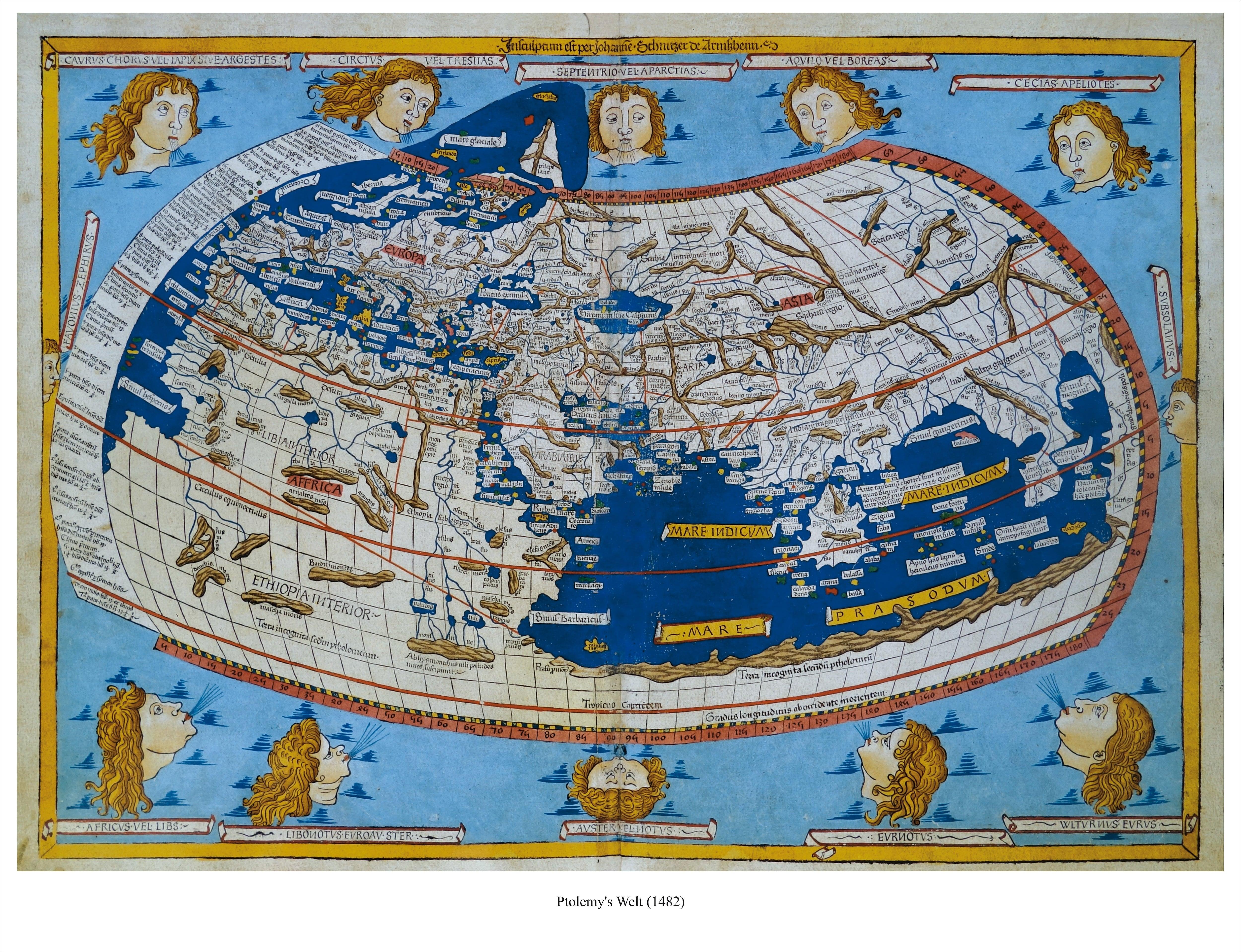 Ptolemy S World 1482 71 X 56cm Antique Maps Wall Maps