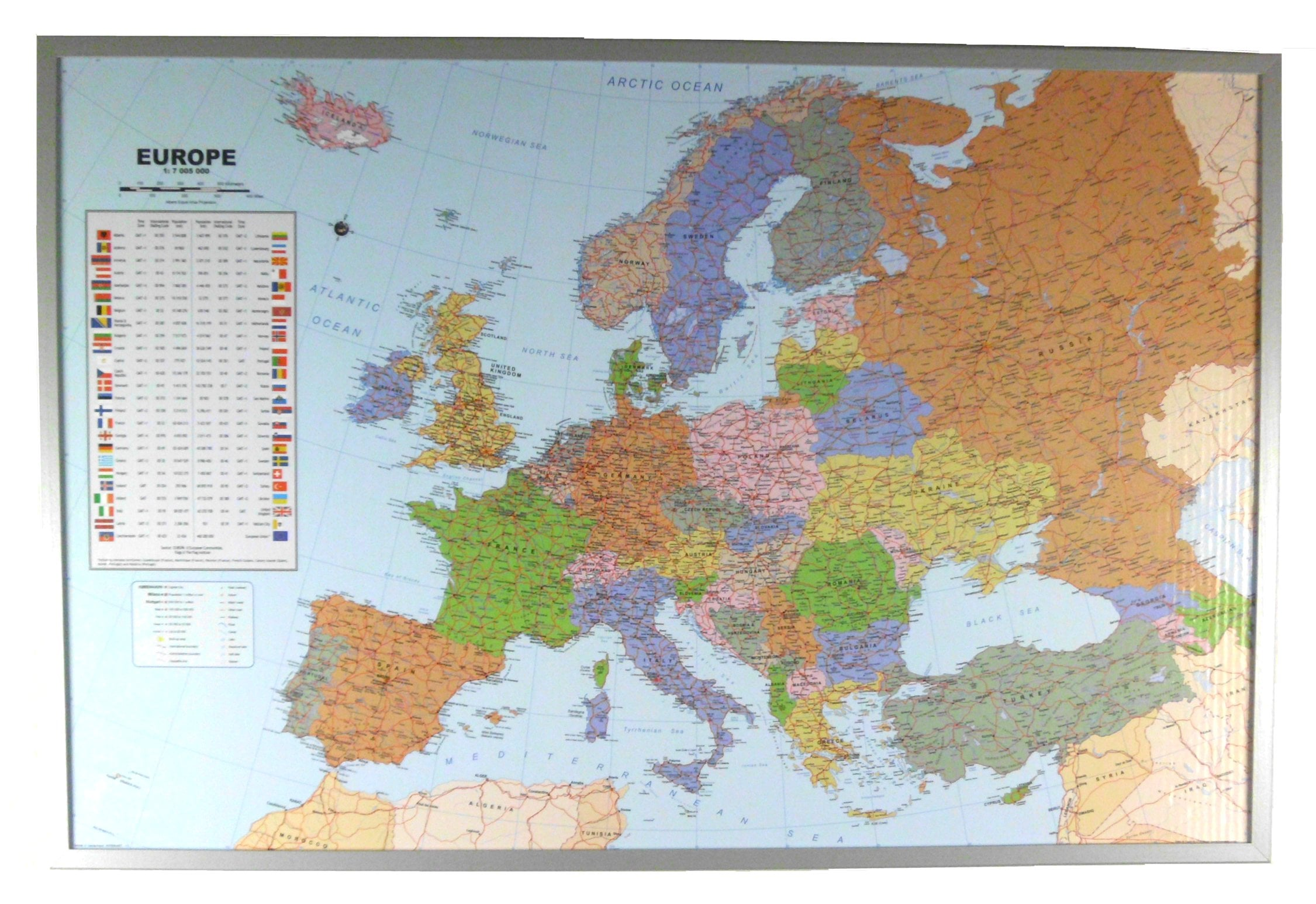 Political europe map on cork pinboard wall maps gumiabroncs Images