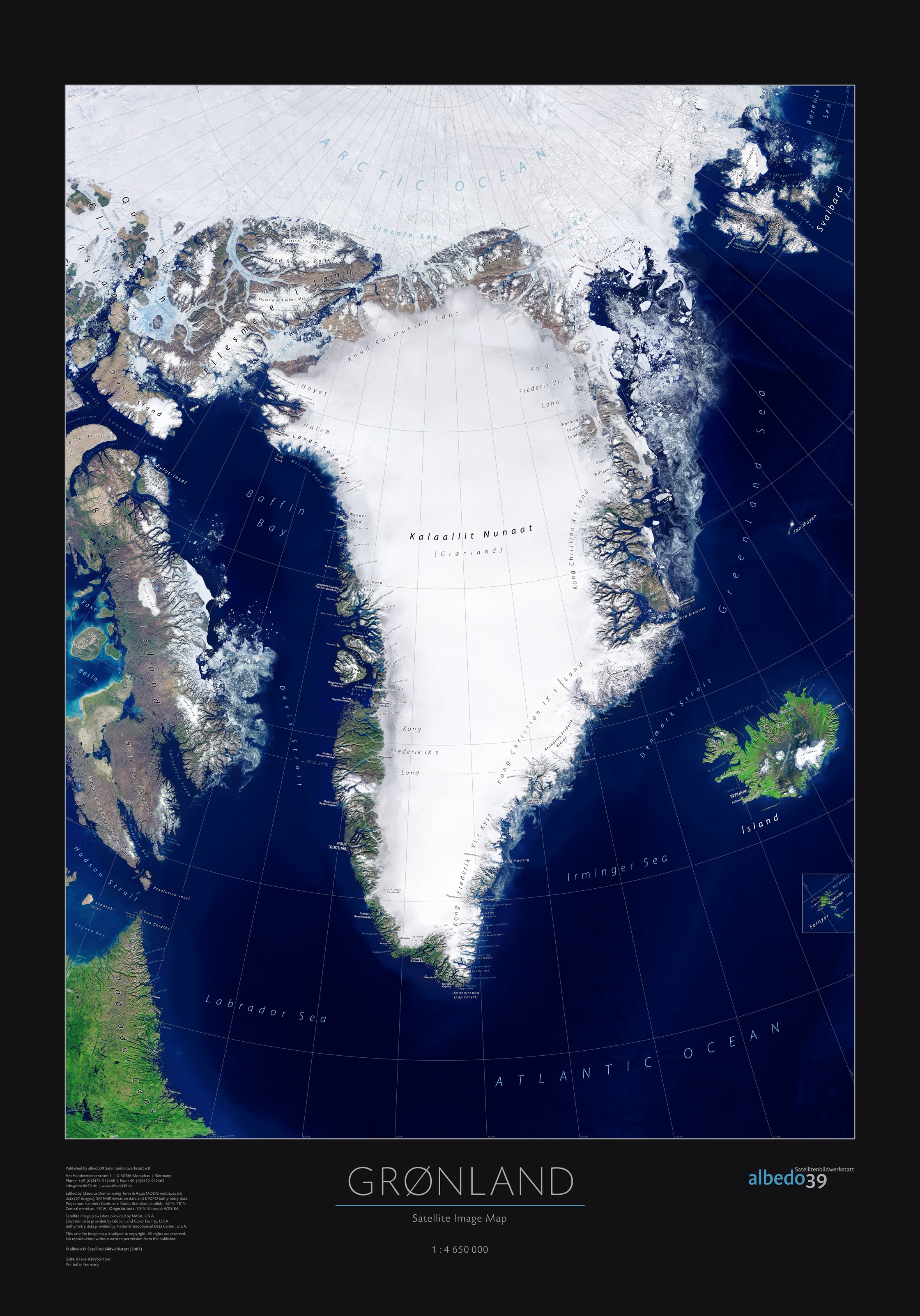 Greenland Satellite Poster Sky Views Wall Maps