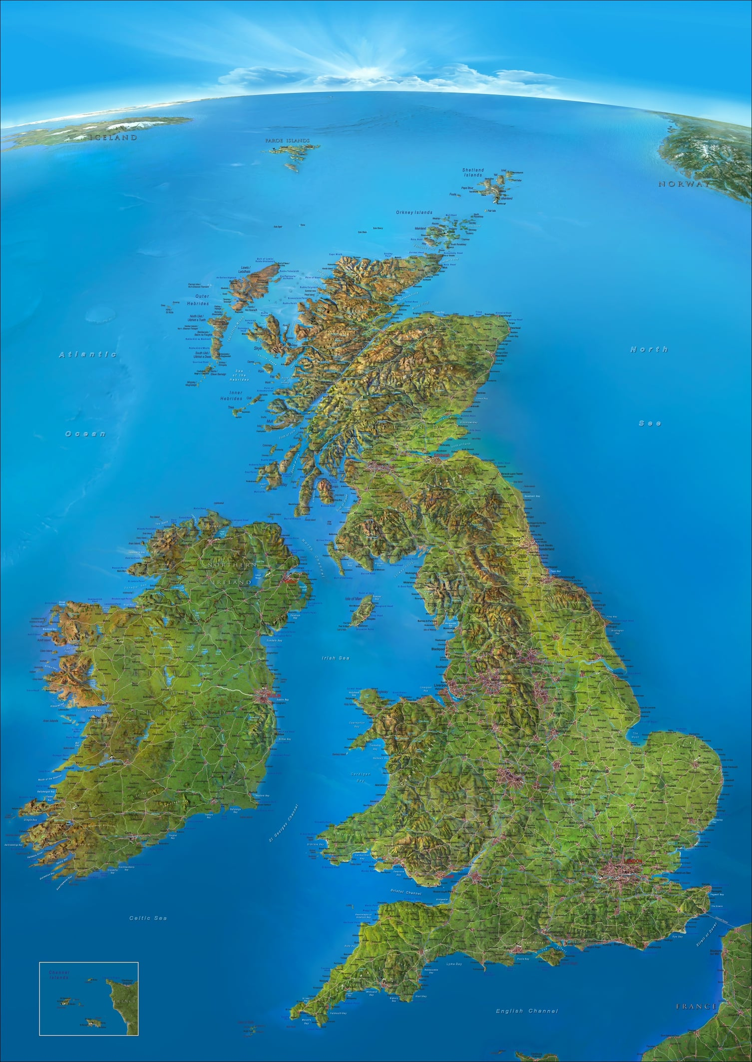 3d Relief Map Of Uk.Panorama Wall Map British Isles 95 X 135cm