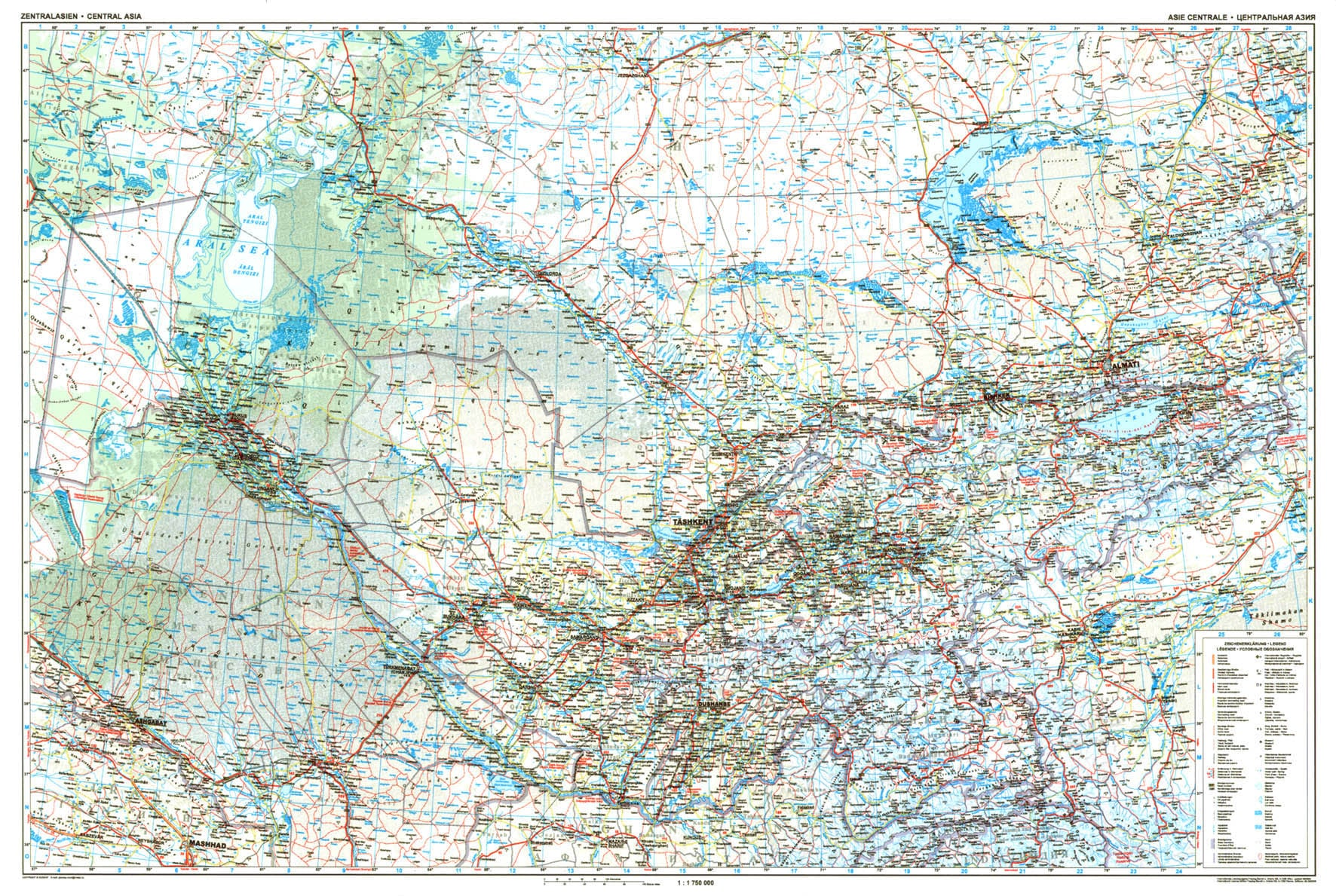 Detailed Map Of Asia.Central Asia Road Wall Map