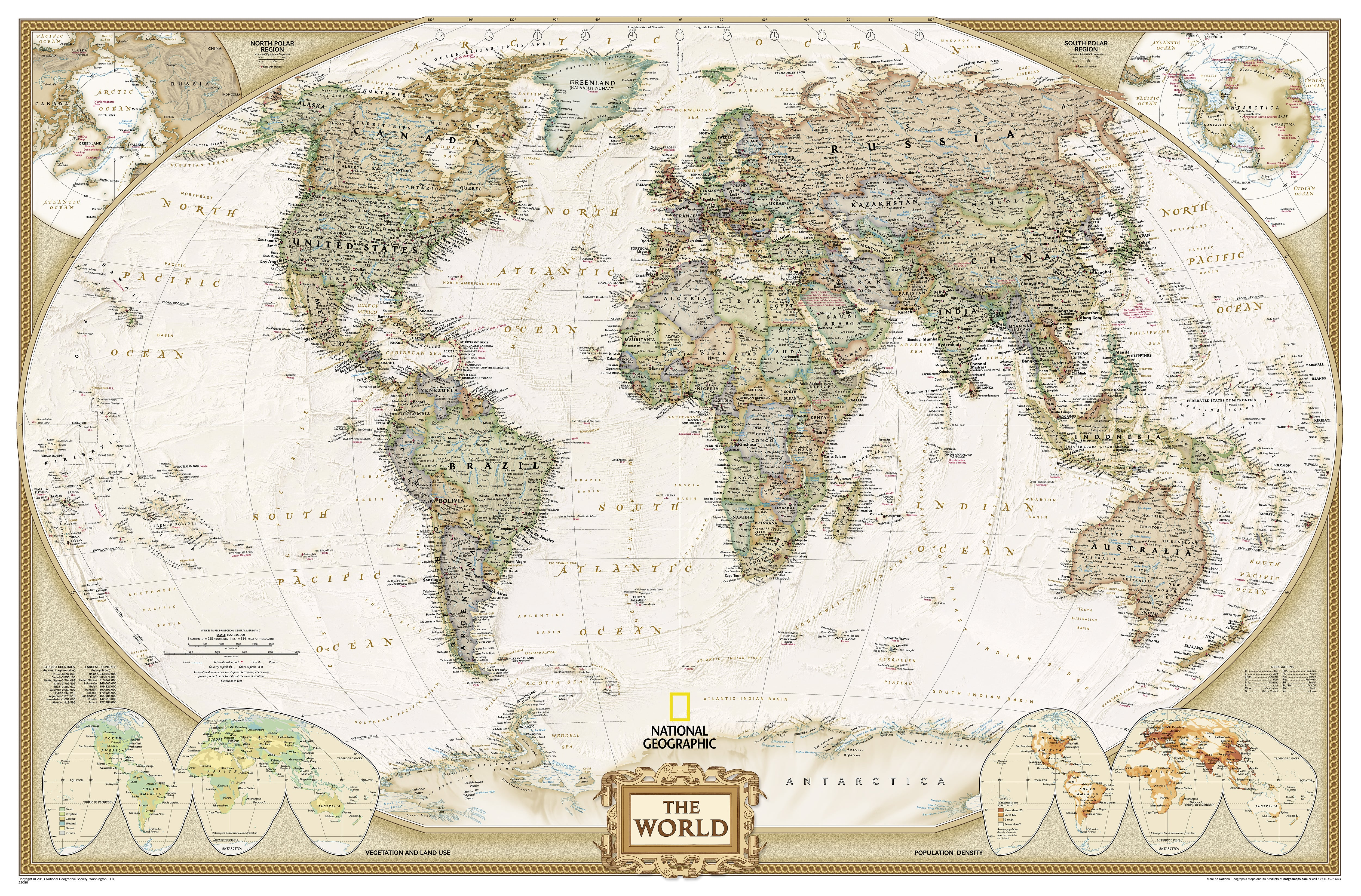 Large size national geographic world map poster antique tones gumiabroncs Gallery