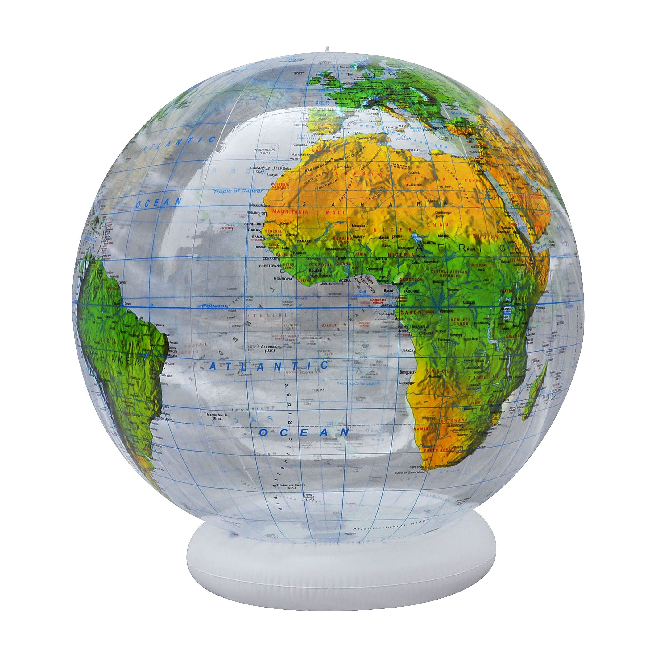 topographical inflatable globe 36 inch english globes games